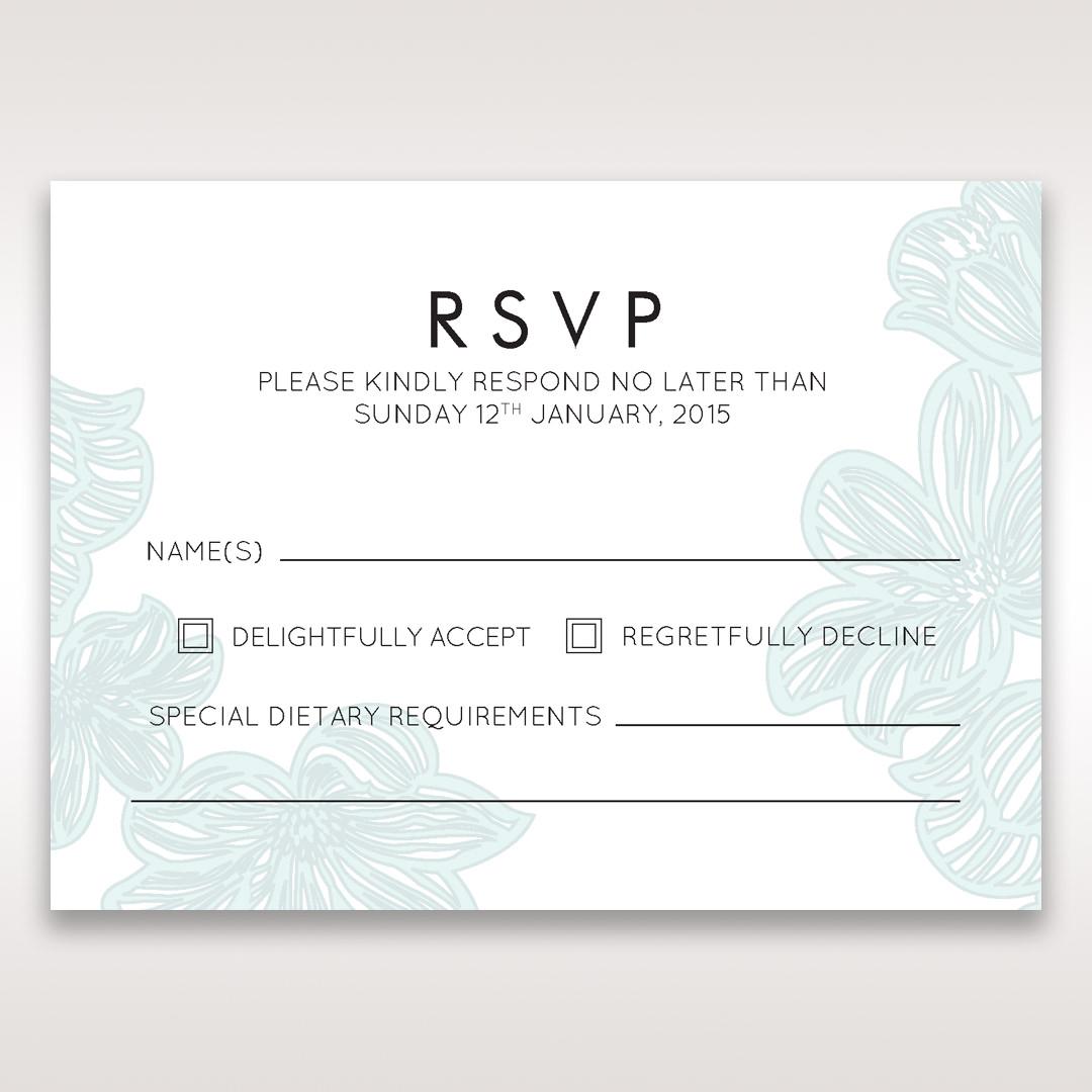 Blue Laser Cut Flower Wrap - RSVP Cards - Wedding Stationery - 57