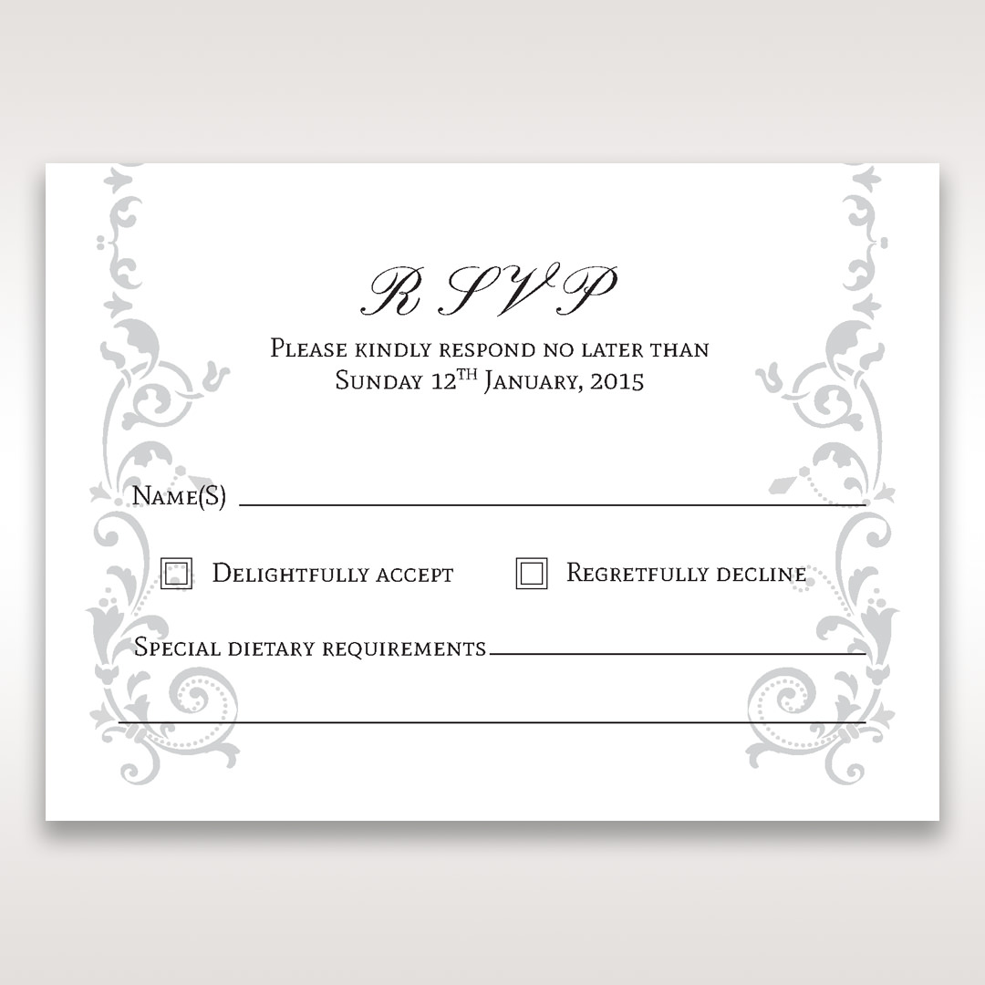 White Modern Times Vintage Pocket - RSVP Cards - Wedding Stationery - 76