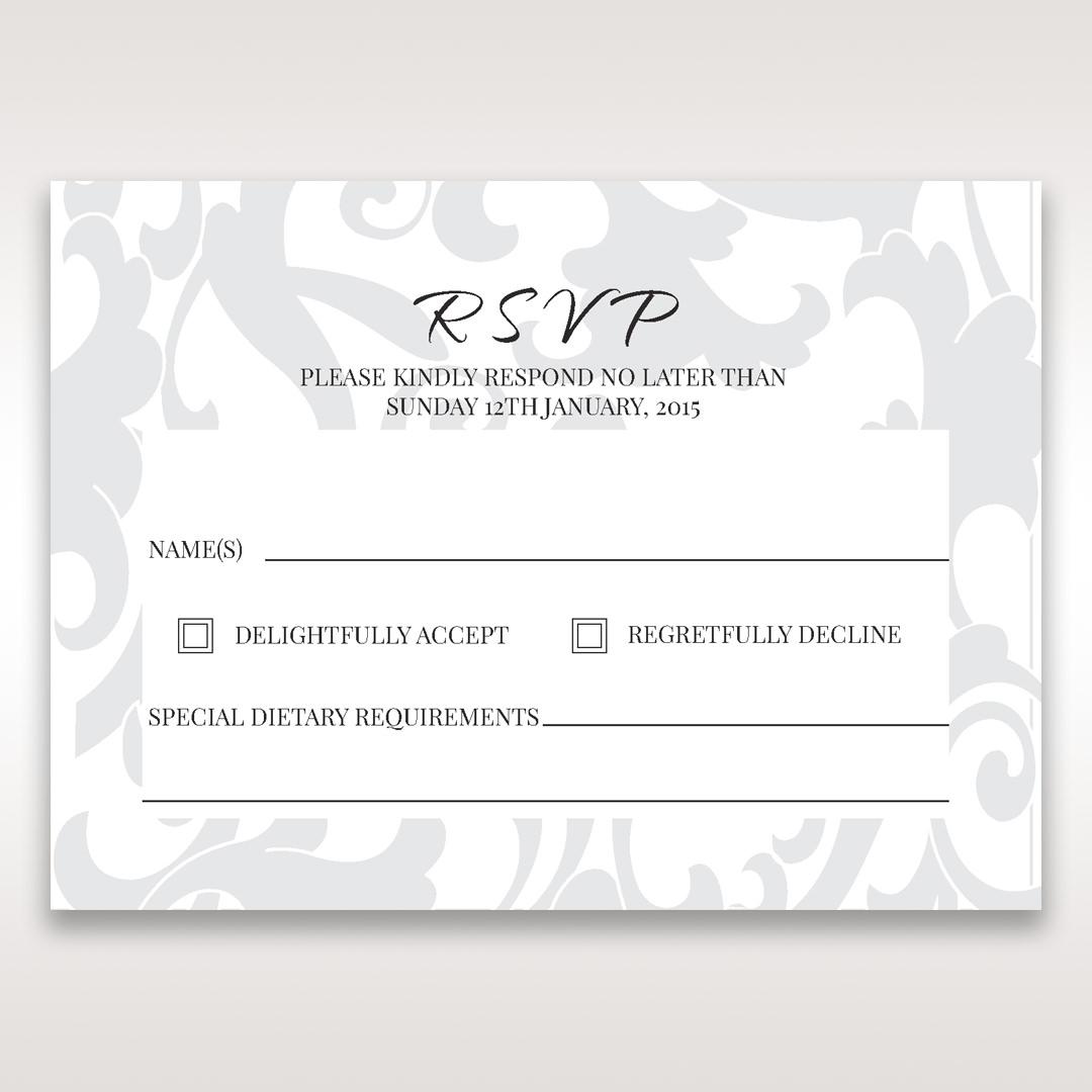 Blue Laser Scrolling Grandeur Layered Laser Cut - RSVP Cards - Wedding Stationery - 57