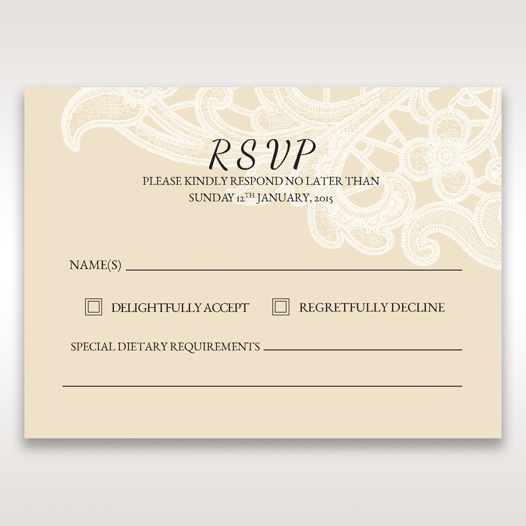 Yellow/Gold Laser Cut Floral Pocket - RSVP Cards - Wedding Stationery - 47
