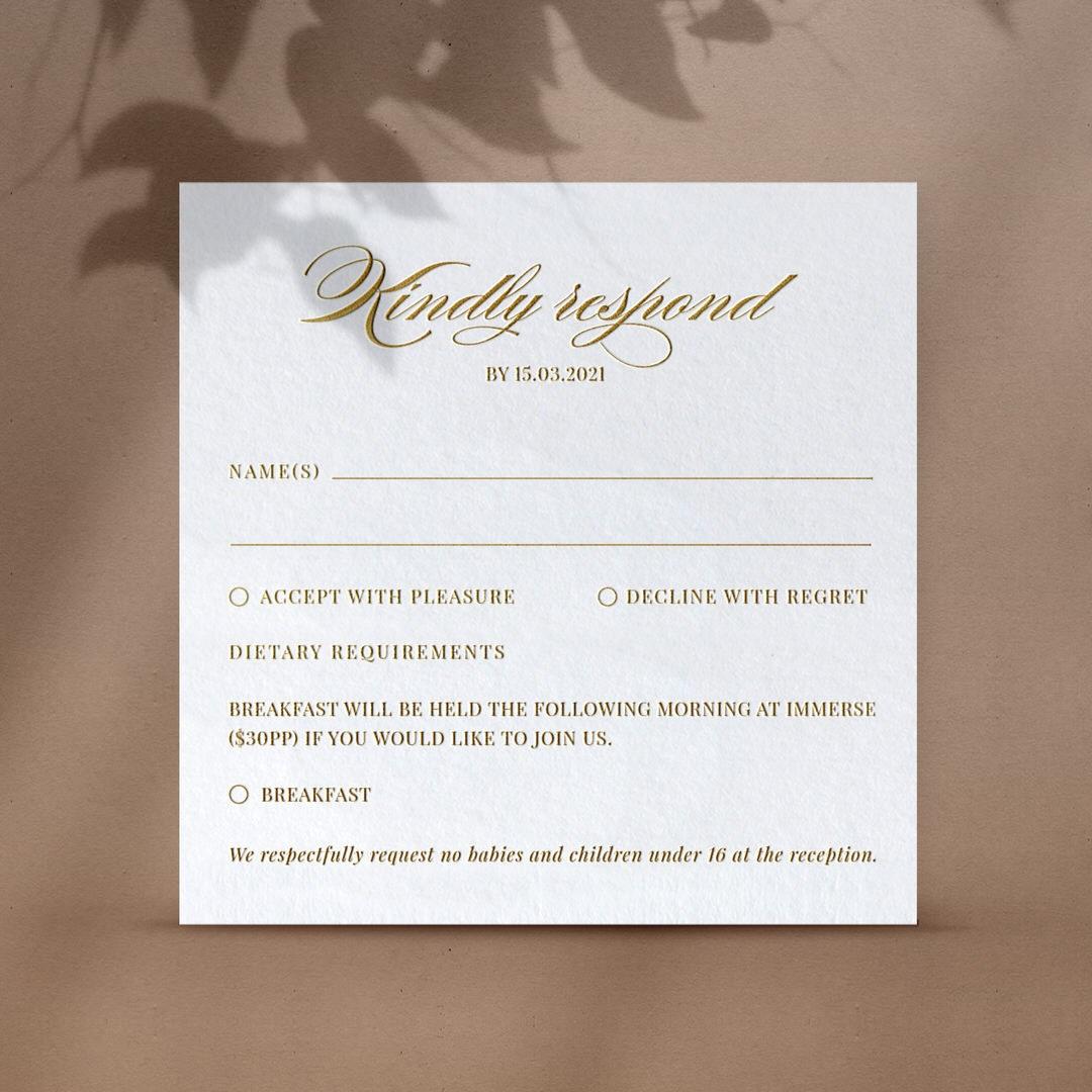 Pre Foiled Ivory RSVP - RSVP Cards - VD-KI300-PFL-GG-06 - 184490
