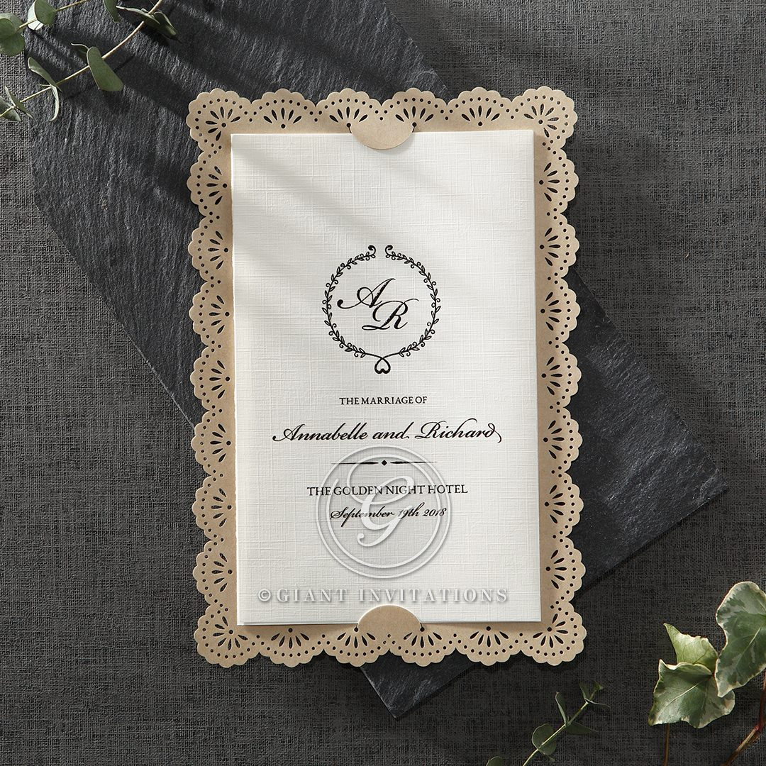 Vintage Lace Frame wedding invitations HB15040