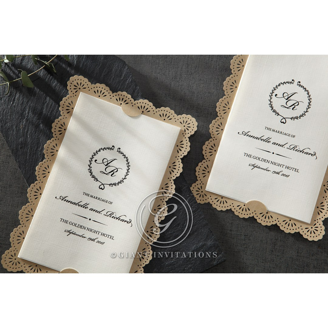 Textured And Vintage Brown Lace Framed Wedding Invitation