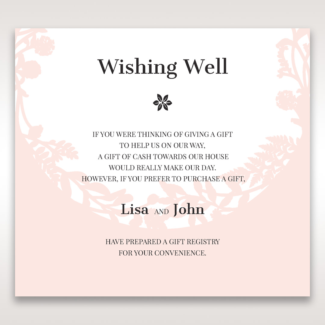 Laser cut nature and pink filled wishing well card design for What to ask for wedding registry