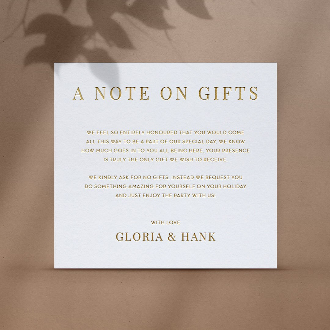Note on Gifts in Simple Elegance - Wishing Well / Gift Registry - WD-TI300-PFL-GG-02 - 184506