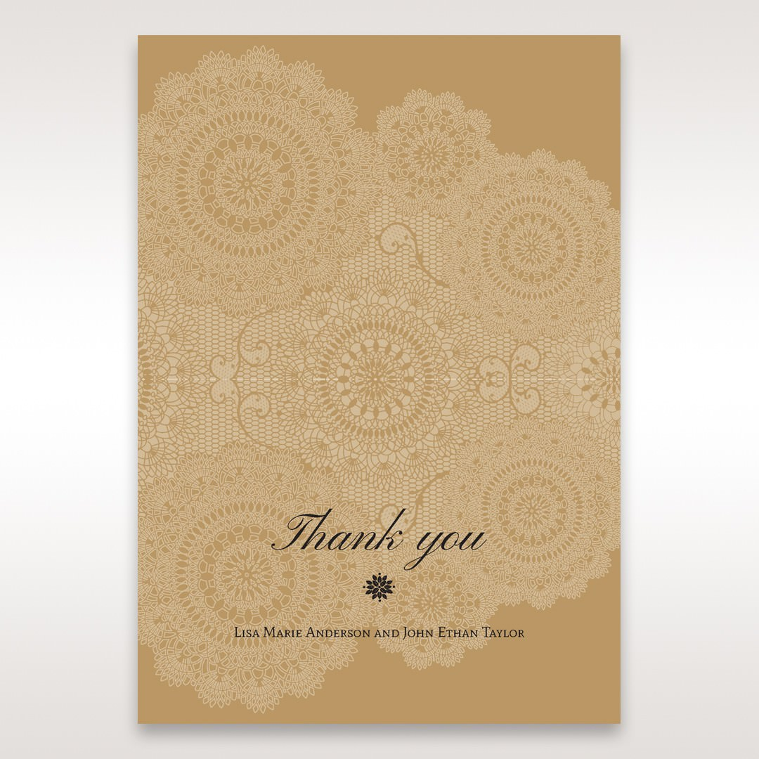 Yellow/Gold Tri-Fold Laser Cut Gold - Thank You Cards - Wedding Stationery - 58