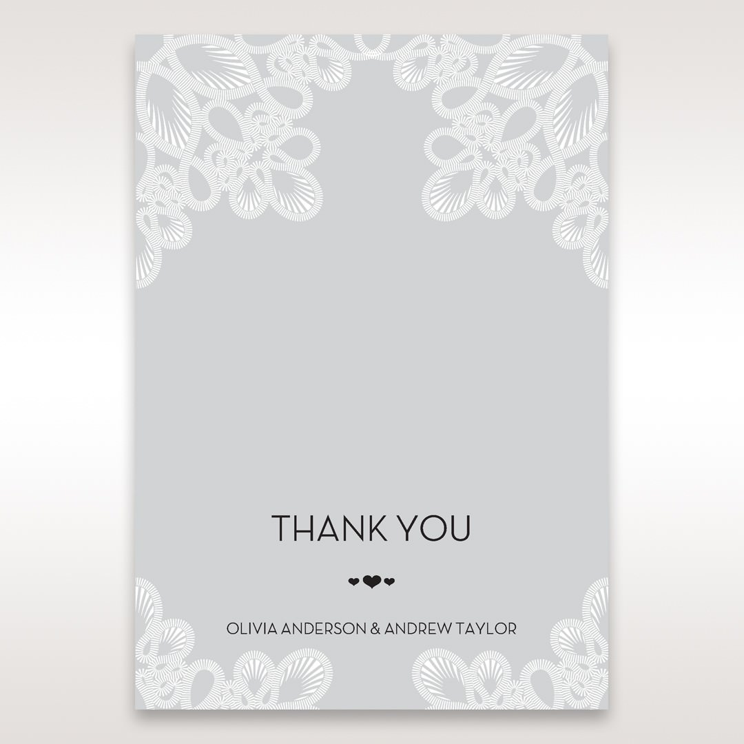 Silver/Gray Elagant Laser Cut Wrap - Thank You Cards - Wedding Stationery - 89