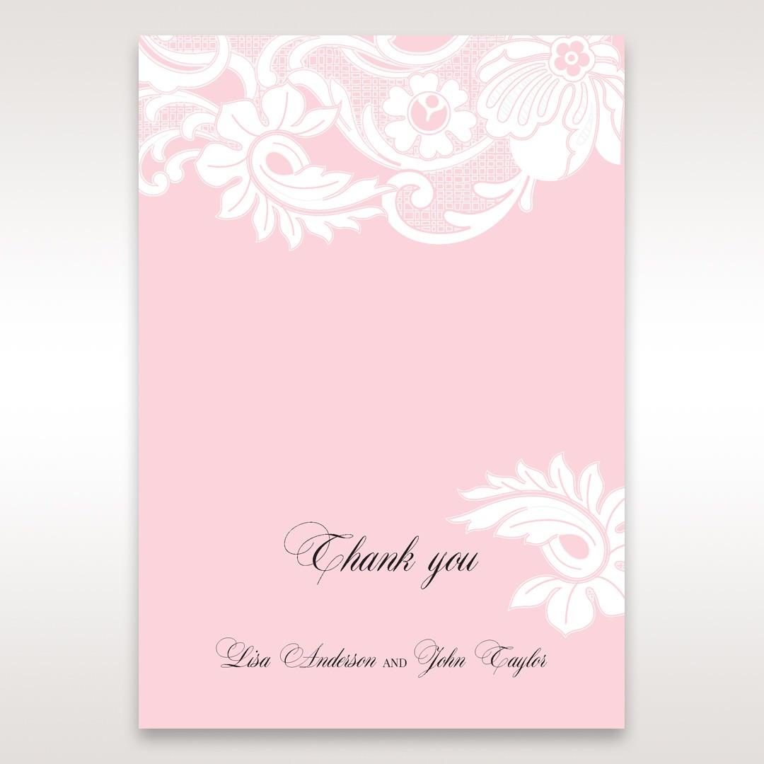 Pink Laser Cut Floral Half Pocket - Thank You Cards - Wedding Stationery - 2