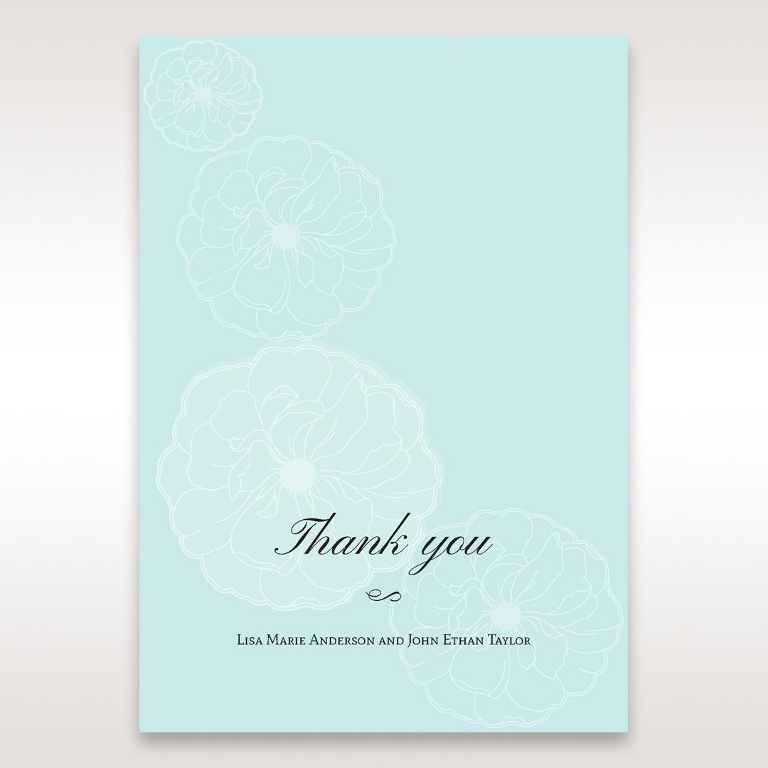 Blue Sculpted White Flower - Thank You Cards - Wedding Stationery - 6