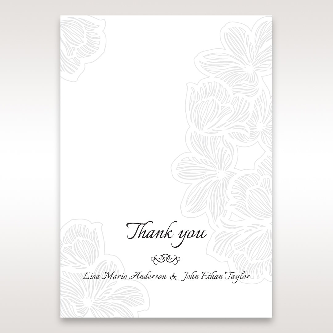White Laser Cut Floral Lace - Thank You Cards - Wedding Stationery - 44