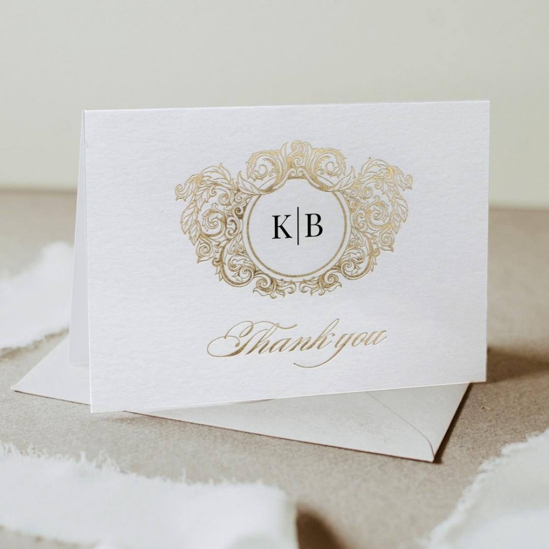 Pre Foiled Ivory Thank You Card - Thank You Cards - YD-KI300-PFL-GG-06 - 184493