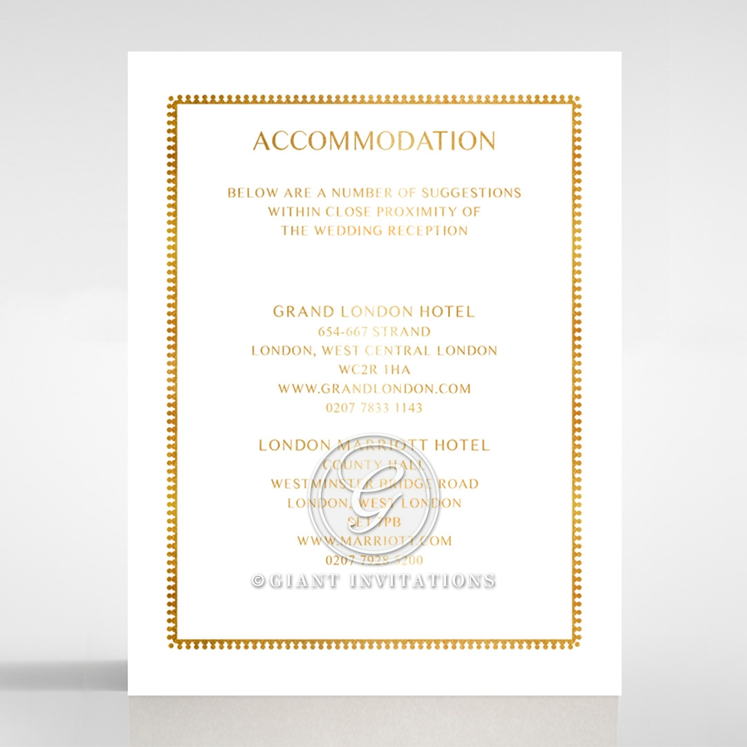 Black Doily Elegance with Foil wedding stationery accommodation card