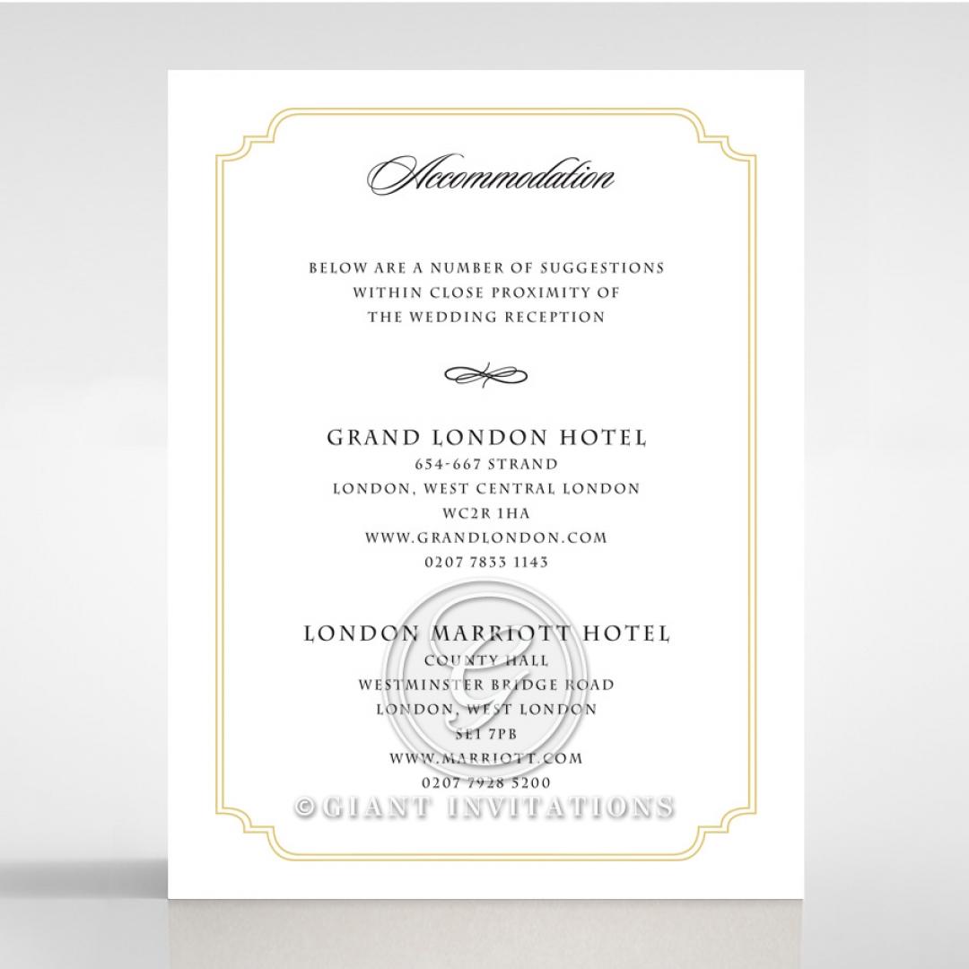Black Victorian Gates wedding accommodation invite card