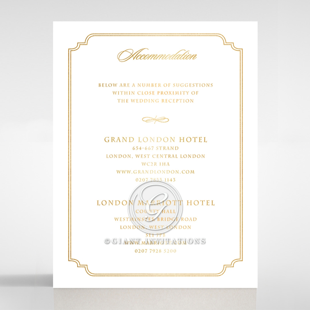 Black Victorian Gates with Foil wedding accommodation invite card design
