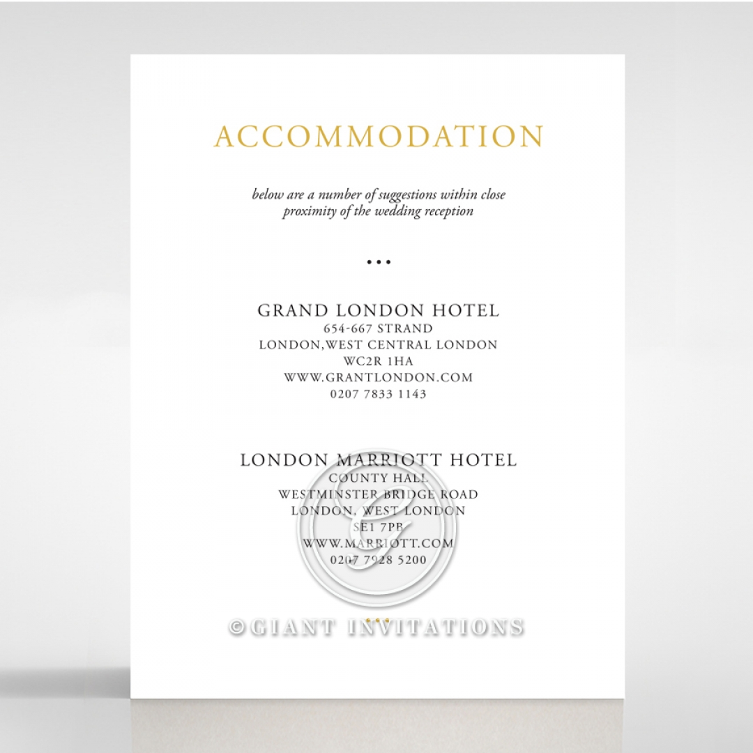Diamond Drapery wedding stationery accommodation enclosure card