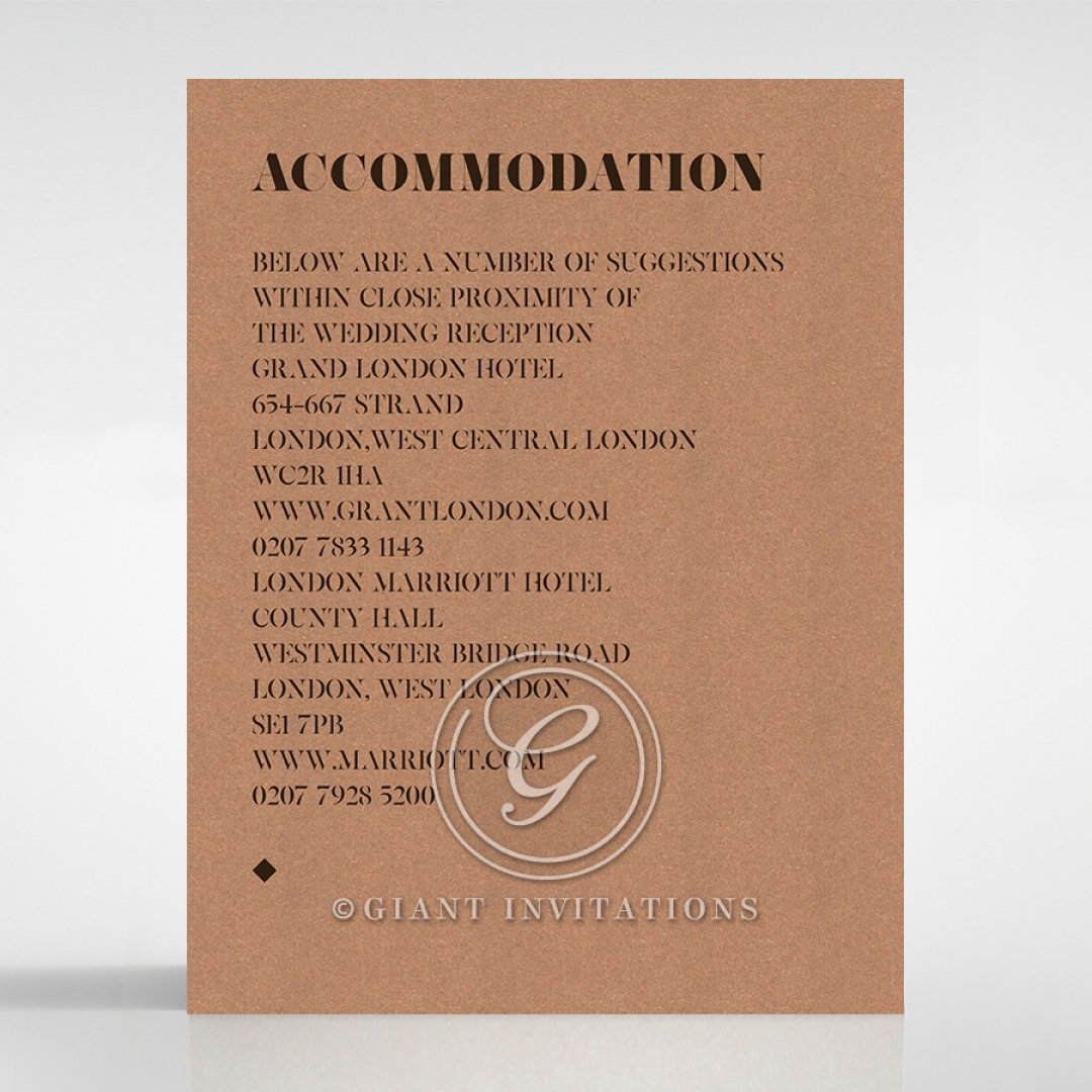 Etched Cork Letter wedding accommodation invite card