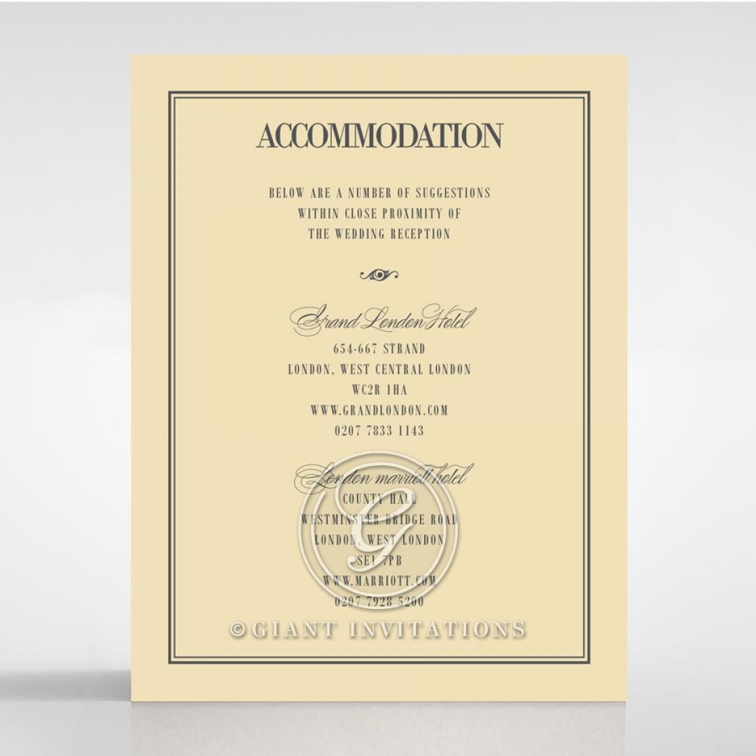 Golden Baroque Gates wedding accommodation enclosure card