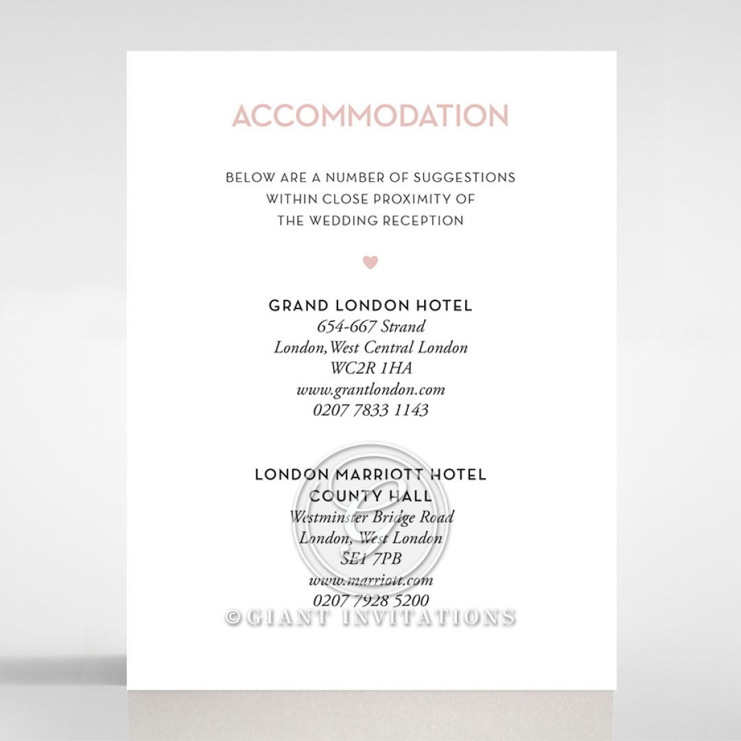 Pink Chic Charm Paper wedding stationery accommodation invitation card
