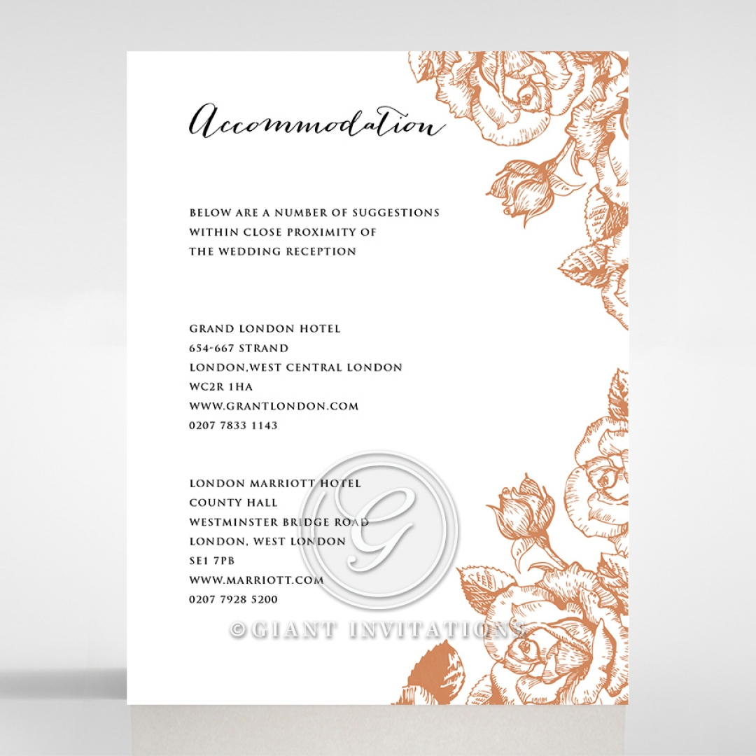 Rose Romance Letterpress wedding accommodation enclosure card design