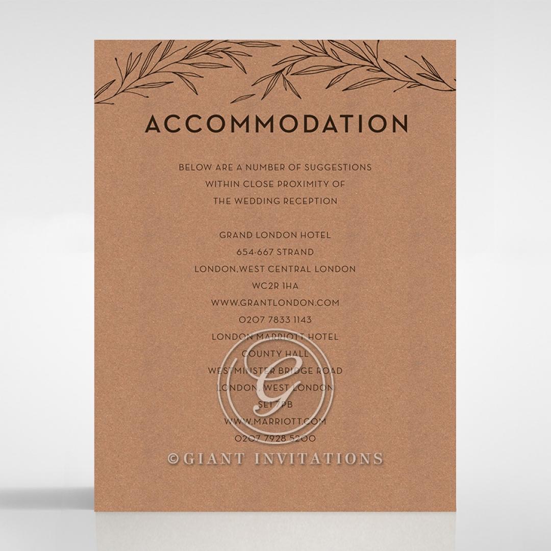 Rustic Oriental wedding accommodation invitation