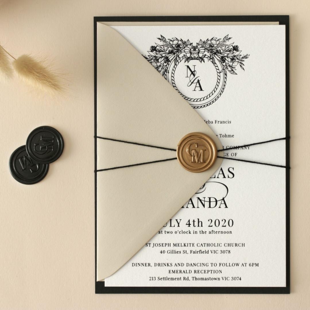 Ebony Foiled Wreath - Wedding Invitations - WP-CU550-B-01 - 184323