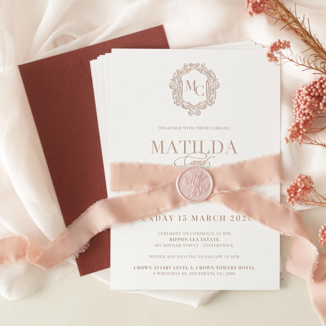 Blushed Romance Letterpress - Wedding Invitations - WP-IC55-LP-07 - 184260