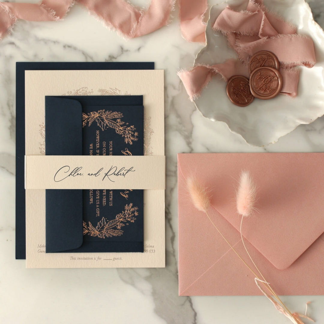 Chic Navy and Rosy Blush Foil - Wedding Invitations - WP-CR07-BR - 184234