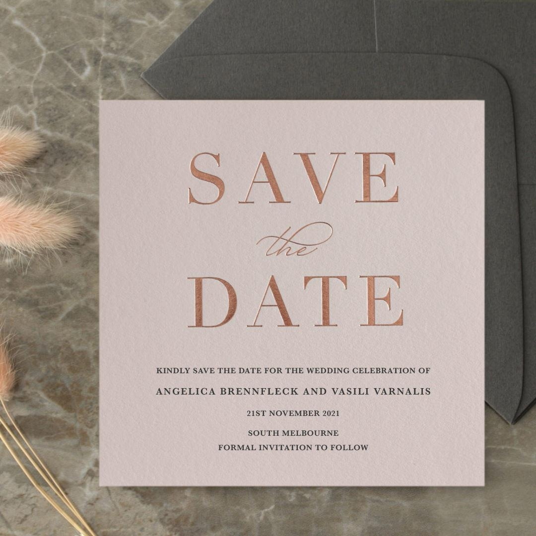 Foil Stamped Save the Date on Blush and White - Wedding Invitations - WP-CR14-SD-RG - 184233