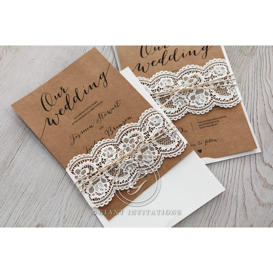 Country Lace With Twine Wedding Invitations
