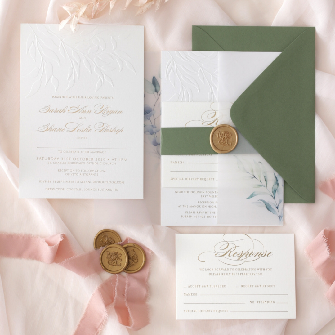 Embossed Ivory Garden Romance with Foil - Wedding Invitations - WP-IC30-BLBF - 184982