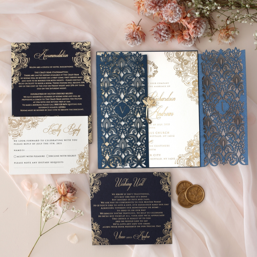 Navy Imperial Glamour - Wedding Invitations - PWI116022-NV-WH - 185214