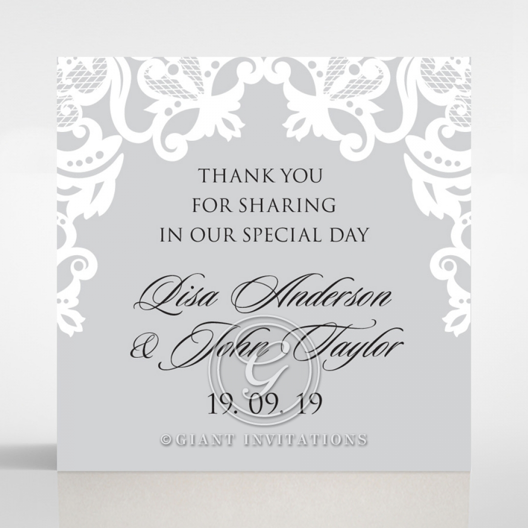 Black Divine Damask wedding gift tag stationery design
