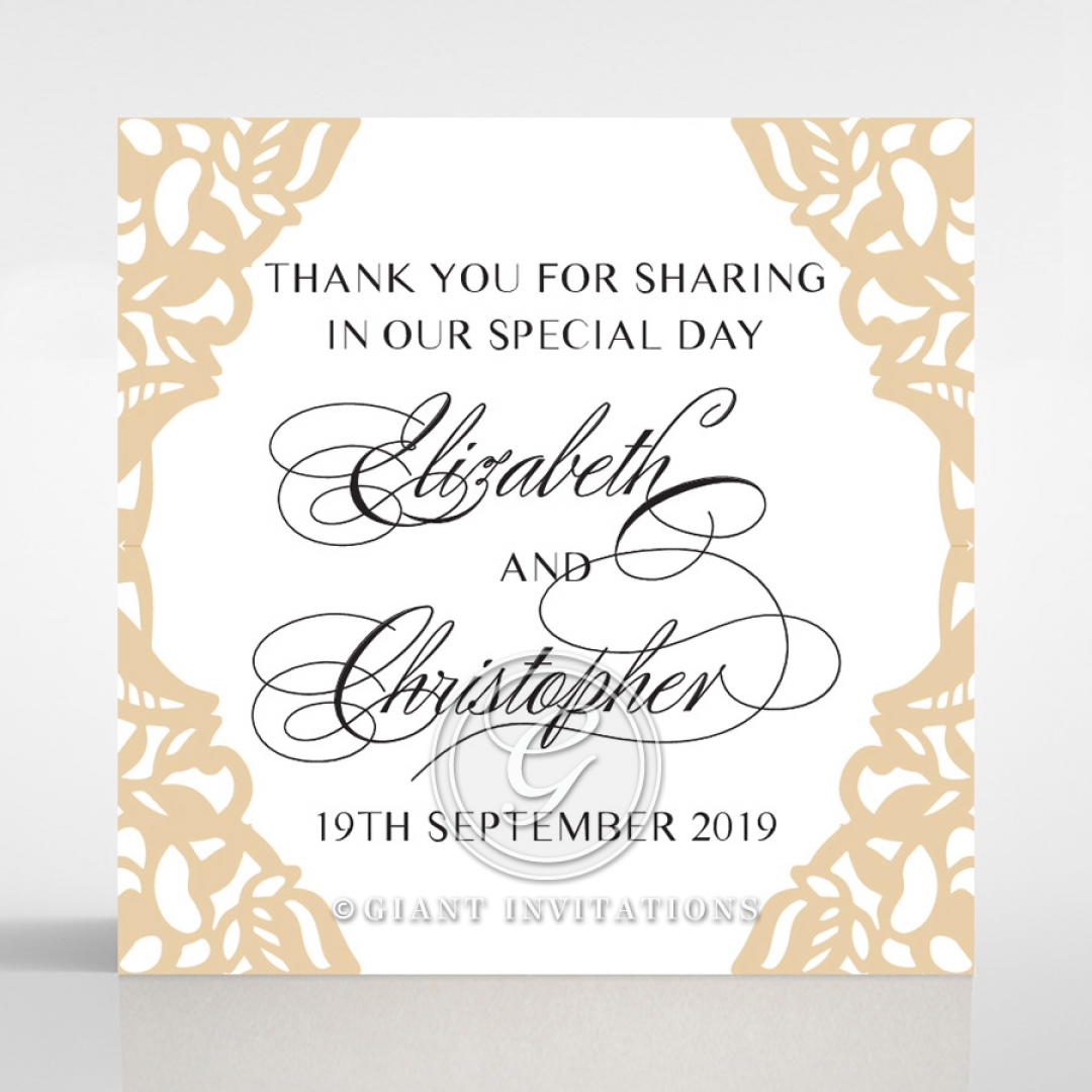 Golden Floral Lux wedding stationery gift tag design