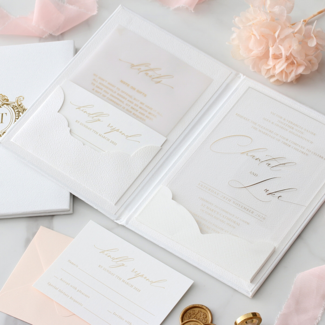 Gold Foil Acrylic Hardcover - Wedding Invitations - HC-GG-CL-1 - 185306