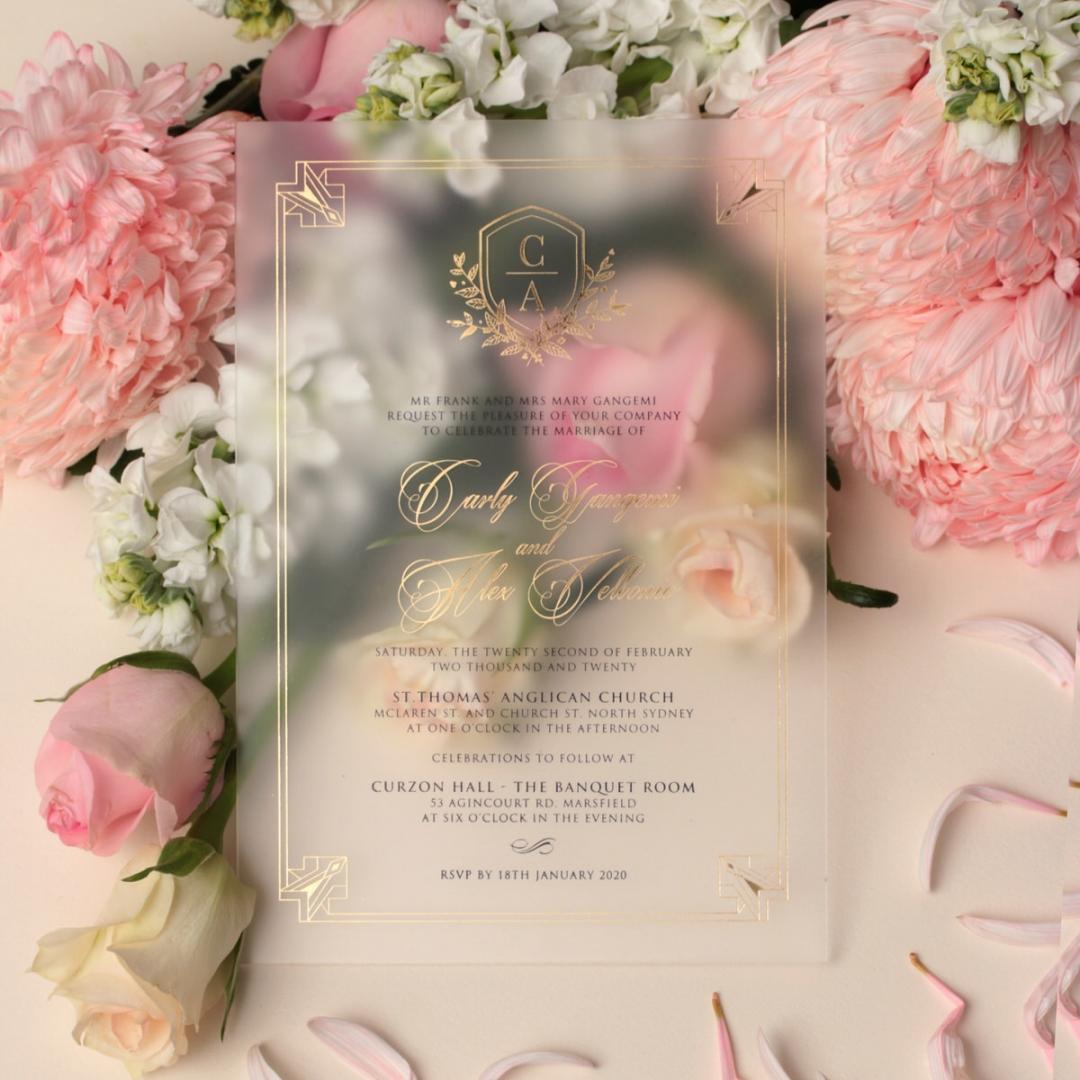Lux Gold Foiled Acrylic - Wedding Invitations - ACR-FLBL-FR-1 - 184363