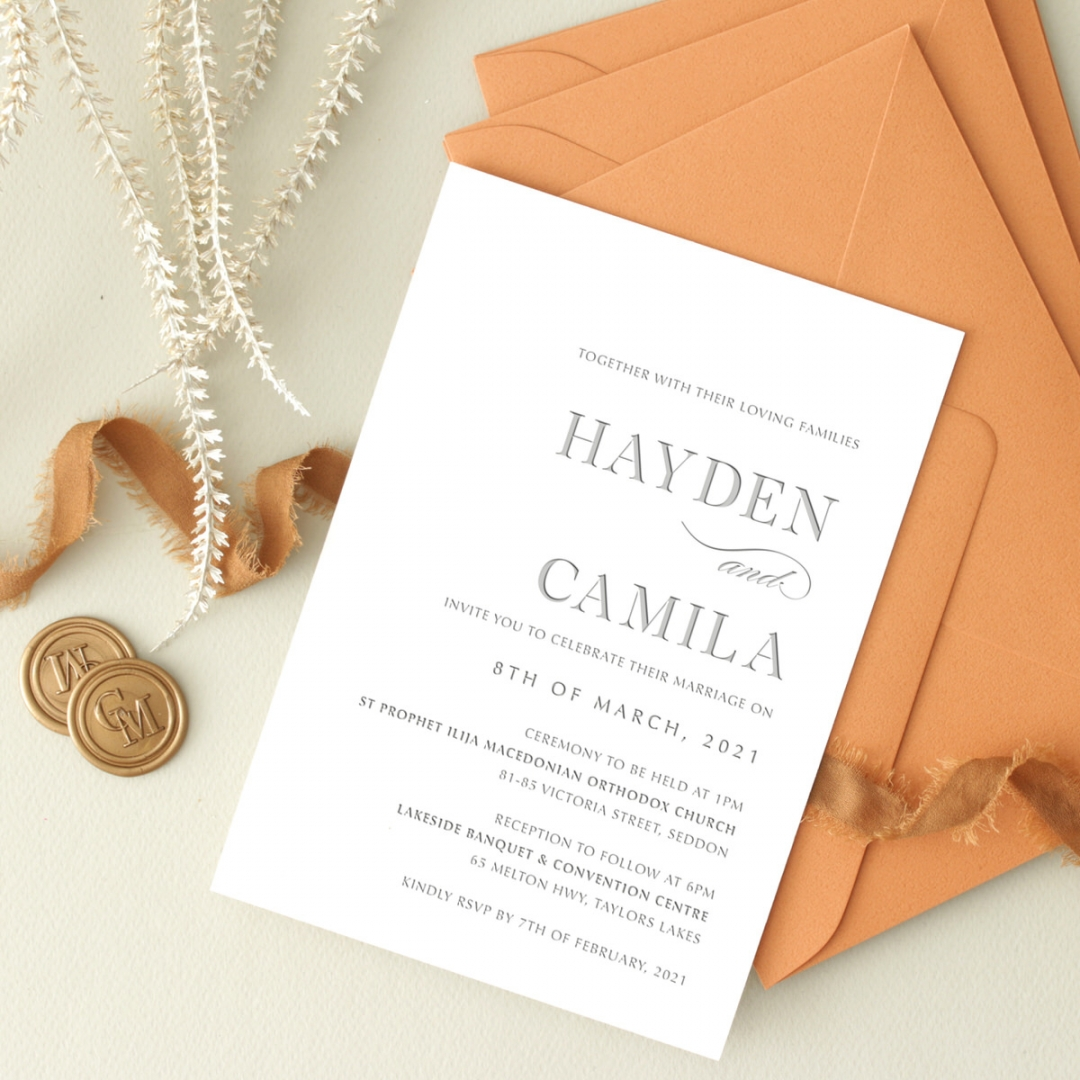 Letterpressed Elegance in Grey - Wedding Invitations - WP-IC55-LP-09 - 184262