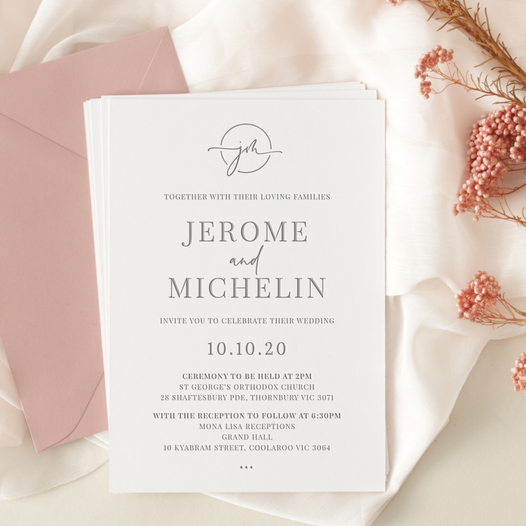 Contemporary Chic Grey Letterpress - Wedding Invitations - WP-IC55-LP-10 - 184263