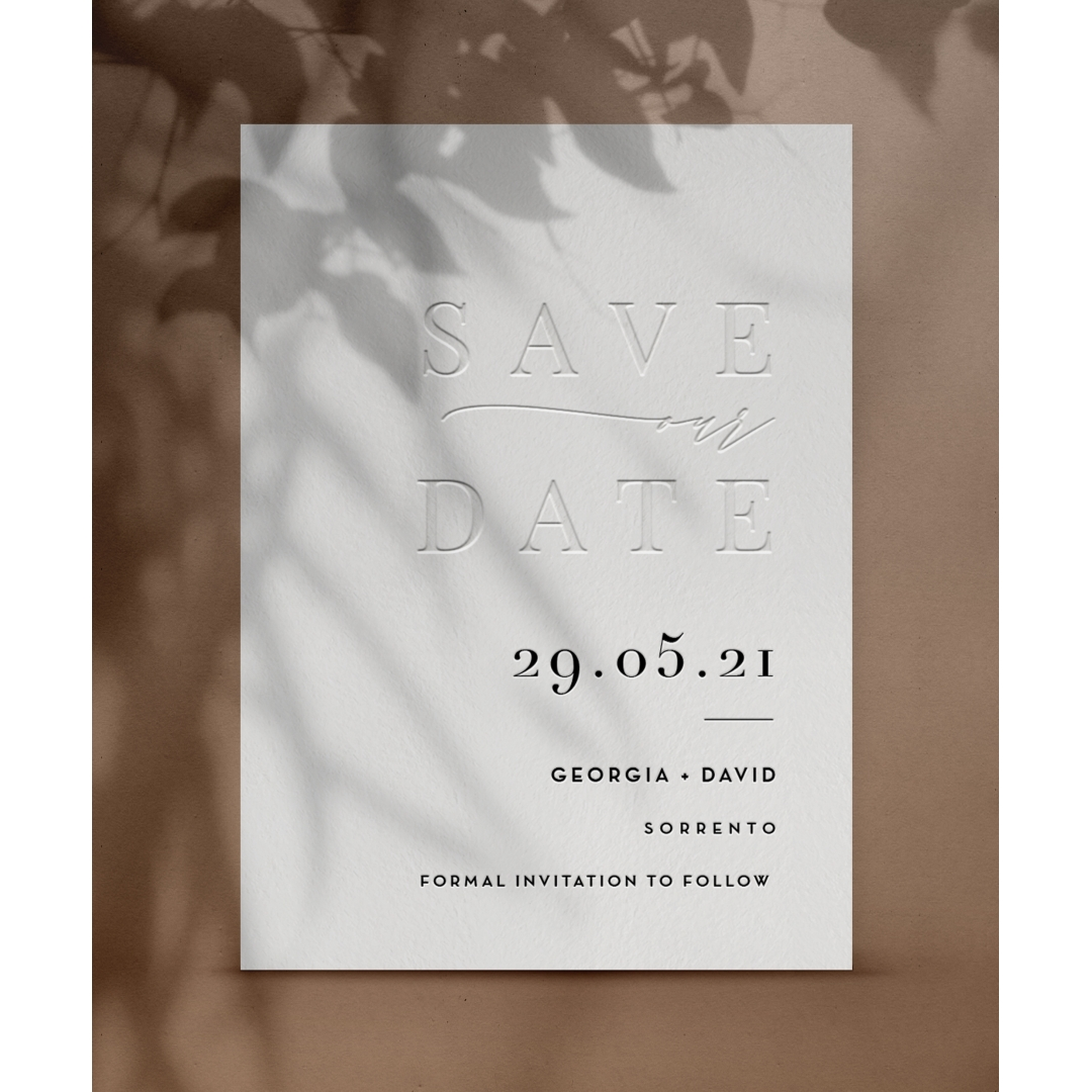 Blind Letterpress Contemporary Save the Date - Wedding Invitations - WP-CR14-SD-BL - 184244