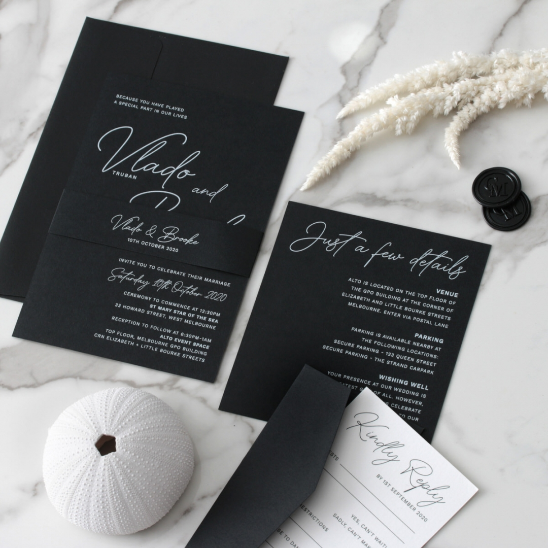 Contemporary in Black and White - Wedding Invitations - GI-CP350-01 - 184133