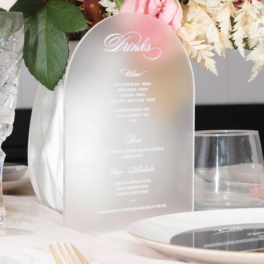 Frosted Curved Acrylic Standing Menu - Menu Cards - MD17300-WH-F - 184060