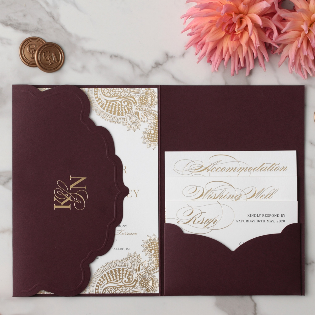 Imperial Burgundy and Gold Pocket - Wedding Invitations - BP-SOLPW-TR30-GG-02 - 184089