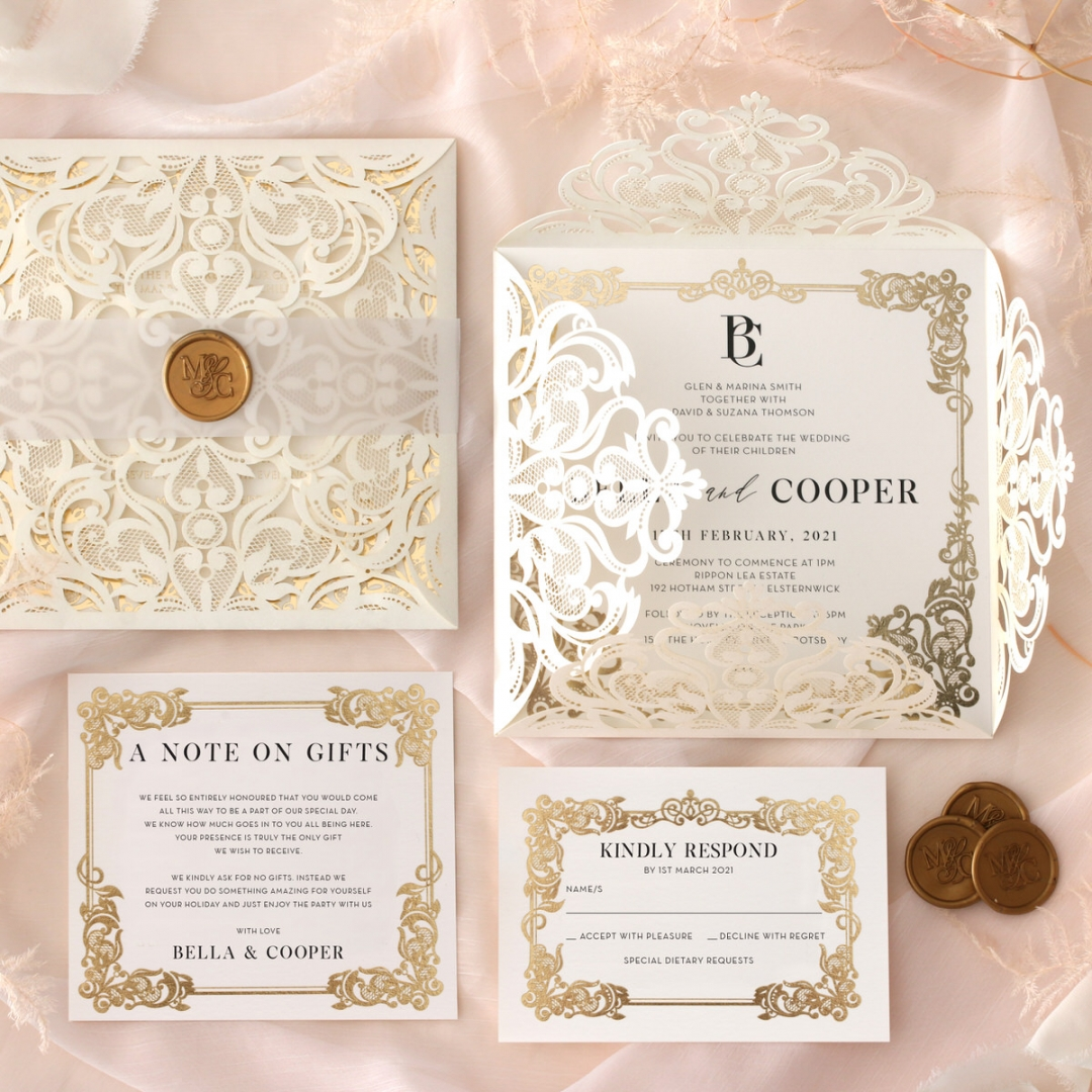 Blooming Charm Foil and Black Ink - Wedding Invitations - PWI116047-PFL - 185155