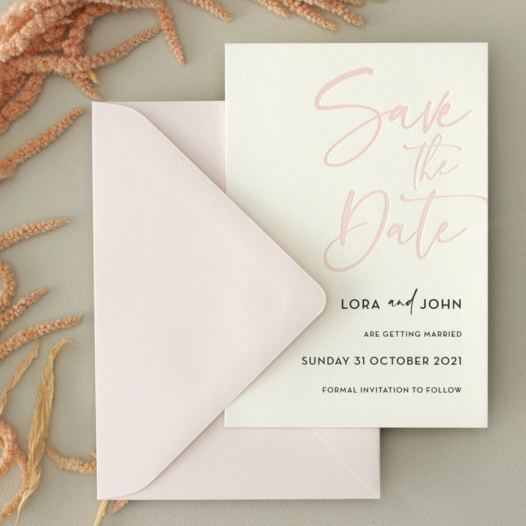 Blush Peach Letterpress - Wedding Invitations - WP-CR14-SD-BL-2 - 184457