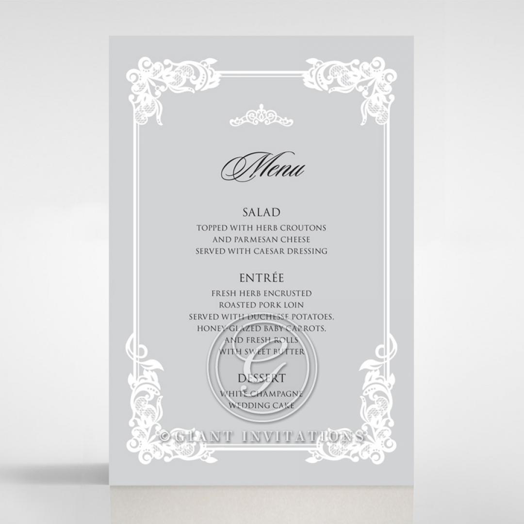 Black Divine Damask wedding venue menu card design