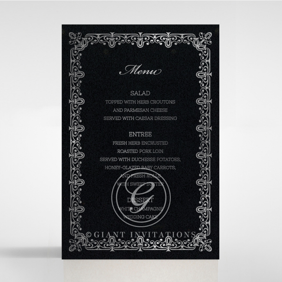 Black on Black Victorian Luxe with foil reception menu card stationery item