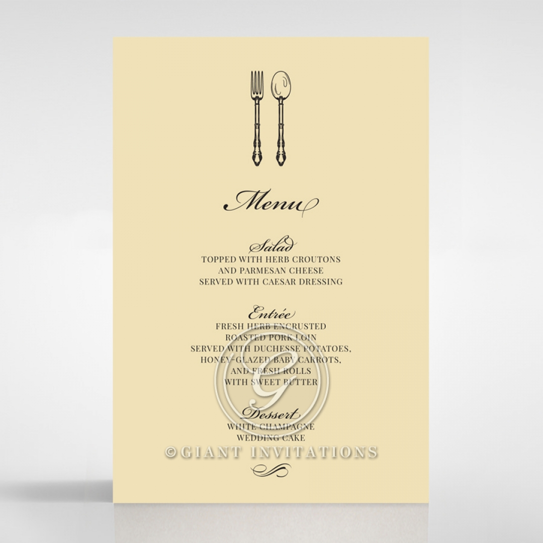Damask Love wedding reception menu card stationery item