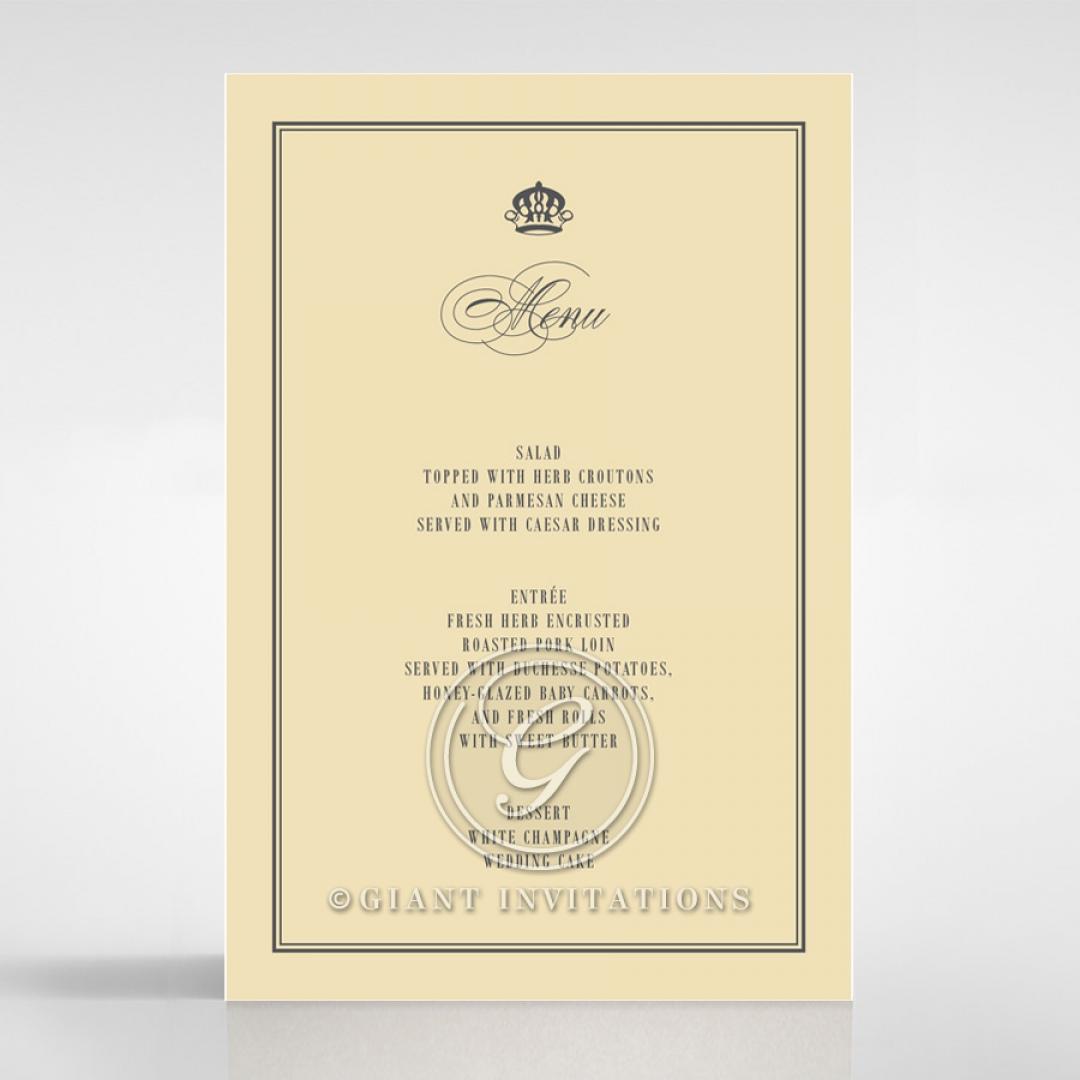 Golden Baroque Gates wedding venue menu card stationery design