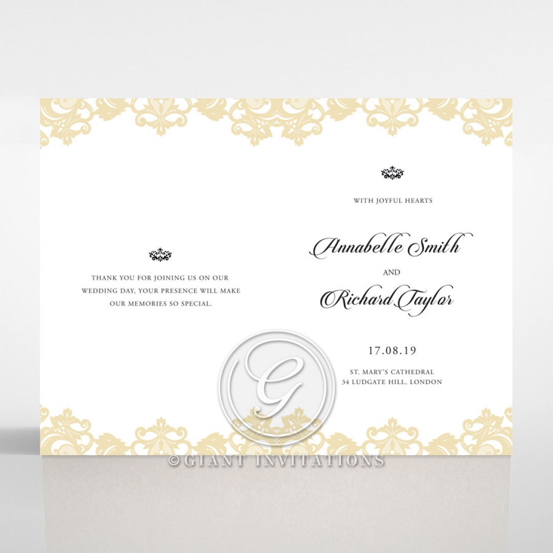 Golden Baroque Pocket with Foil wedding reception menu card stationery