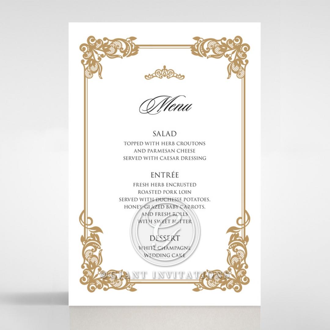 Golden Divine Damask wedding venue menu card