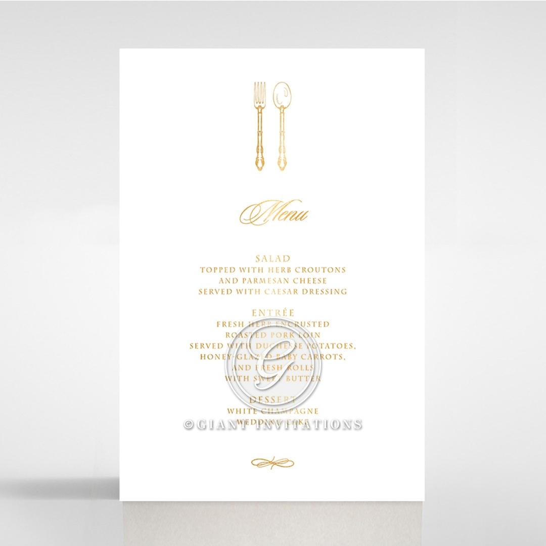 Ivory Victorian Gates with Foil wedding venue menu card stationery item